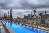 The amazing top deck pool at the W Amsterdam
