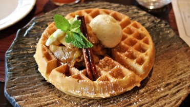 Apples and ice cream waffle
